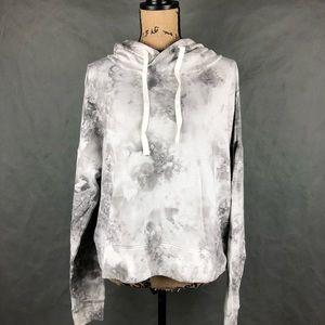 SO White Marble Printed Crop Hoodie